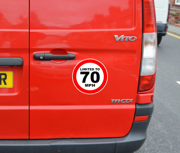 Limited to 70 MPH - speed restricted - printed self-adhesive sticker