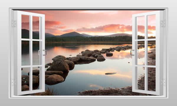 Scottish countryside (Loch Morlich) 3D Window Scape Graphic Art Mural Wall Sticker - Enhance With Vinyl