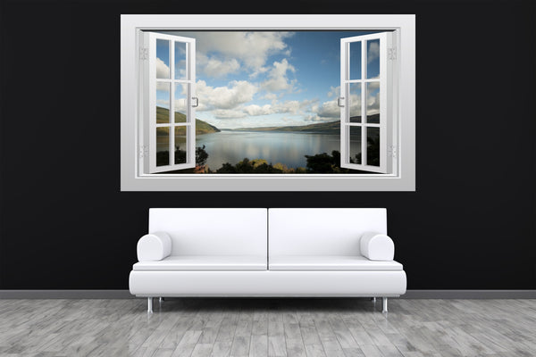 Scottish countryside (Loch Ness) 3D Window Scape Graphic Art Mural Wall Sticker - Enhance With Vinyl