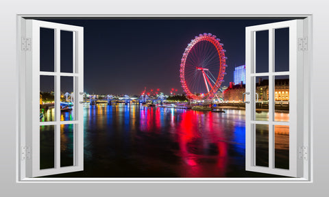 London Eye at night, England 3D Window Scape Graphic Art Mural Wall Sticker - Enhance With Vinyl
