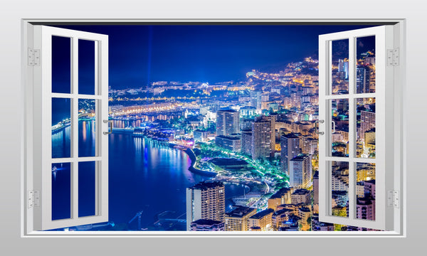 Monaco (Monte Carlo) at night 3D Window Scape Graphic Art Mural Wall Sticker - Enhance With Vinyl
