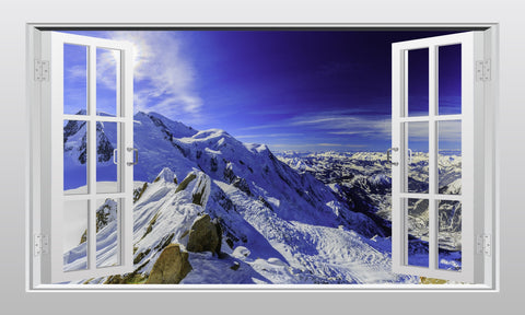 Mont Blanc and Chamonix #1 3D Window Scape Wall art Sticker - Enhance With Vinyl