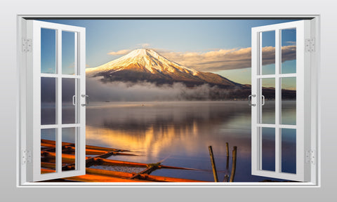 Mount Fuji in Japan 3D Window Scape Graphic Art Mural Wall Sticker - Enhance With Vinyl