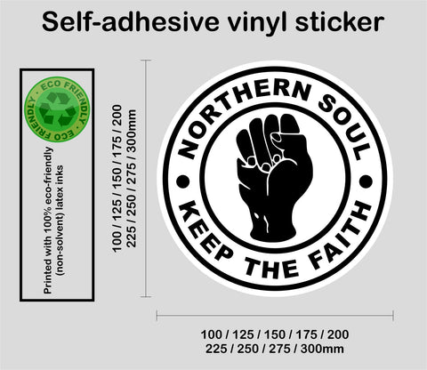 Larger sizes Northern Soul #2 - Keep The Faith - printed self-adhesive sticker