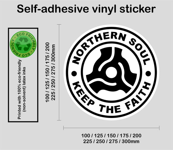 Larger sizes Northern Soul #3 - Retro record middle - printed self-adhesive sticker