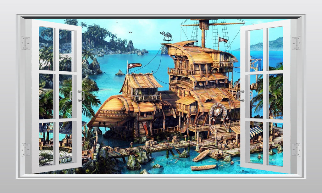 Pirate Ship And Secret Cove 3D Window Scape Graphic Art Mural Wall Sticker    Enhance With Part 60