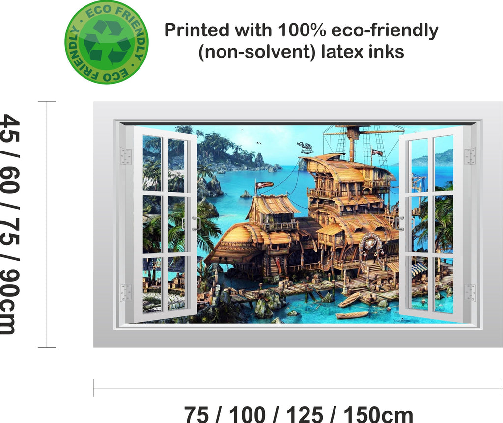pirate ship and secret cove 3d window scape graphic art mural wall pirate ship and secret cove 3d window scape graphic art mural wall sticker enhance with