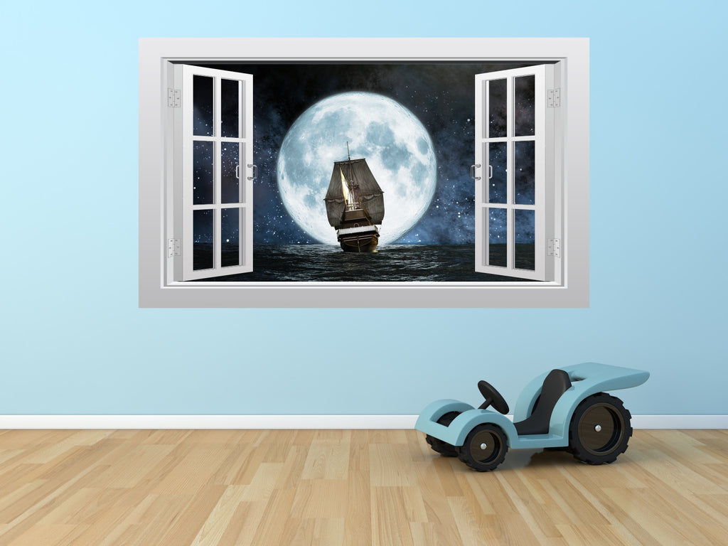 pirate ship and moon 3d window scape graphic art mural wall pirate ship and moon 3d window scape graphic art mural wall sticker enhance with vinyl