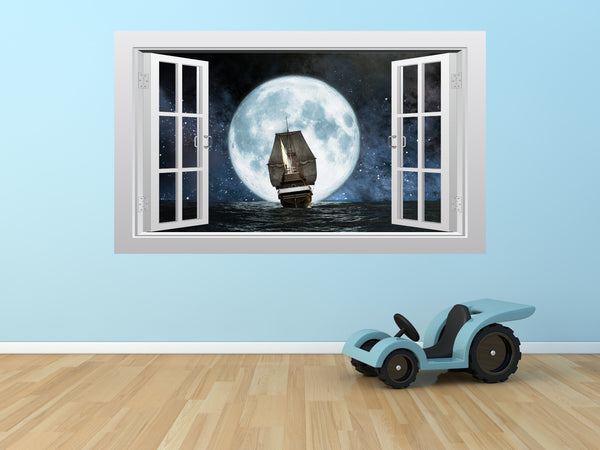 Pirate ship and moon 3D Window Scape Graphic Art Mural Wall Sticker - Enhance With Vinyl