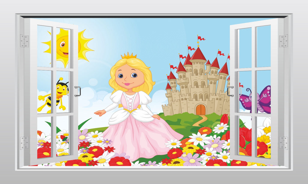 Fairy tale princess and castle 3D Window Scape Wal Art Sticker Poster