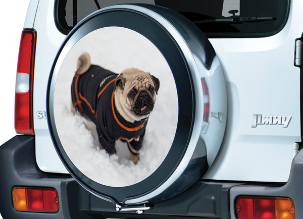 4x4 Spare Wheel Cover Sticker - Full colour laminated Pug in the snow graphic