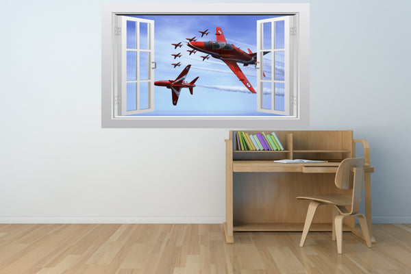 Red Arrows aerobatic display team 3D Window Scape Wall Art Poster Sticker