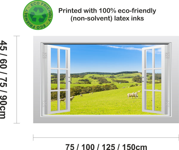 Sheep in a meadow 3D Window Scape Graphic Art Mural Wall Sticker - Enhance With Vinyl
