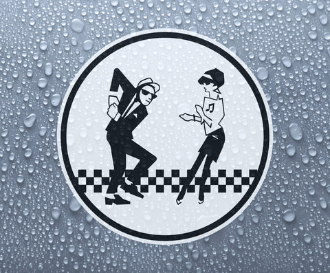 Ska man & Beat girl printed vinyl sticker - 2-tone rude boy mod