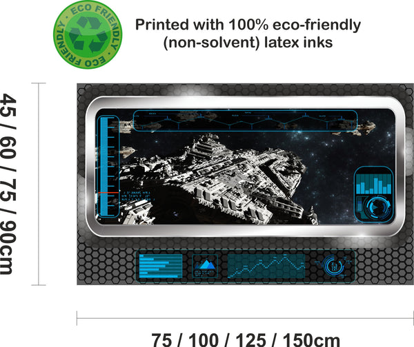 Space fleet deployment 3D view screen and HUD Graphic Art Mural Wall Sticker - Enhance With Vinyl