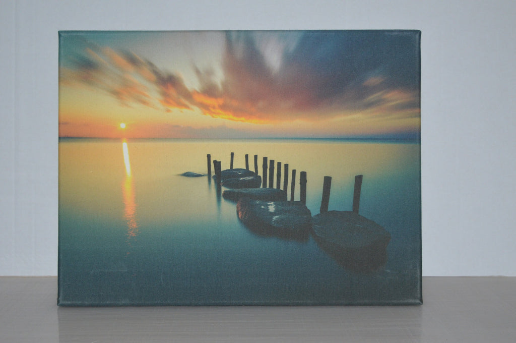 Stretched canvas - Sunset over dock