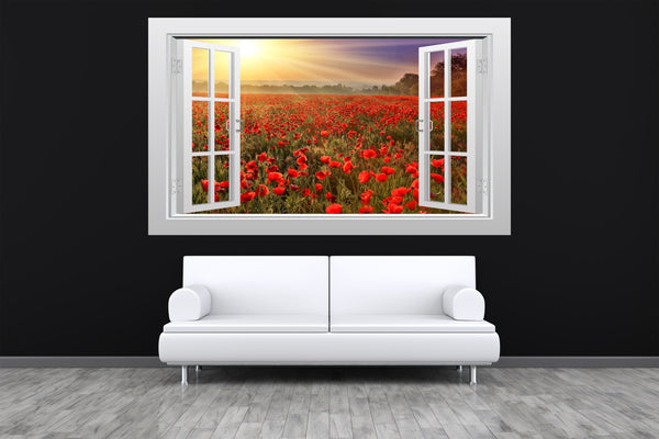Sunset over a poppy field 3D Window Scape Graphic Art Mural Wall Sticker - Enhance With Vinyl