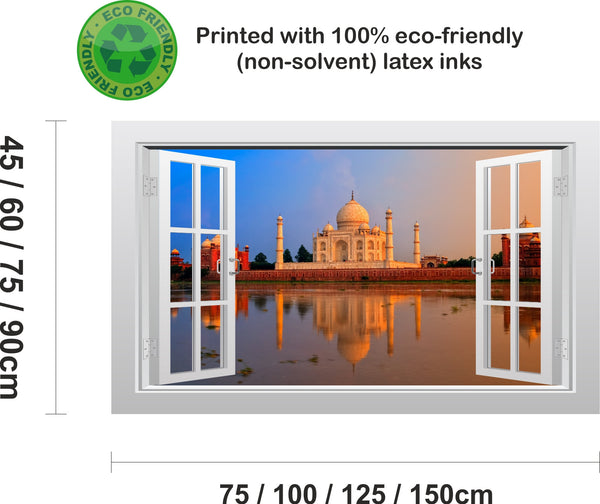 Taj Mahal in India 3D Window Scape Graphic Art Mural Wall Sticker #1 - Enhance With Vinyl
