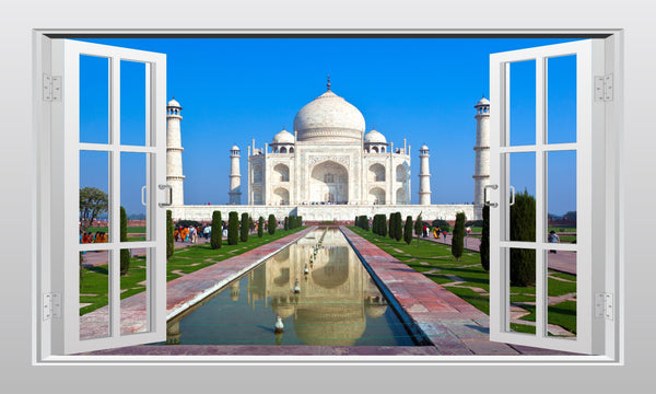 Taj Mahal in India #2 3D Window Scape Graphic Art Mural Wall Sticker - Enhance With Vinyl