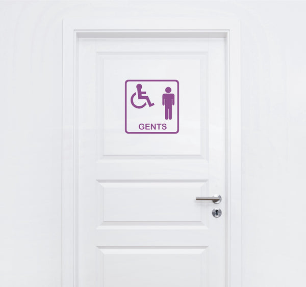 Toilet signs #6 - vinyl Gents disabled wheelchair access WC door sticker - Enhance With Vinyl