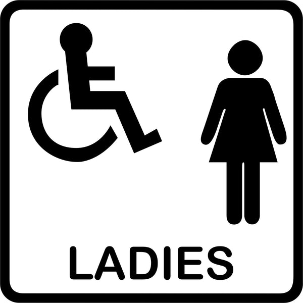 Toilet signs #7 - vinyl Ladies disabled wheelchair access WC door sticker - Enhance With Vinyl
