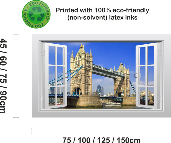 Tower Bridge in London - 3D Window Scape Graphic Art Mural Wall Sticker - Enhance With Vinyl