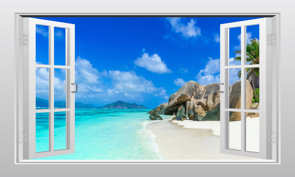 Tropical beach and sea #1 3D Window Scape Wall Van Art Sticker Poster - Enhance With Vinyl