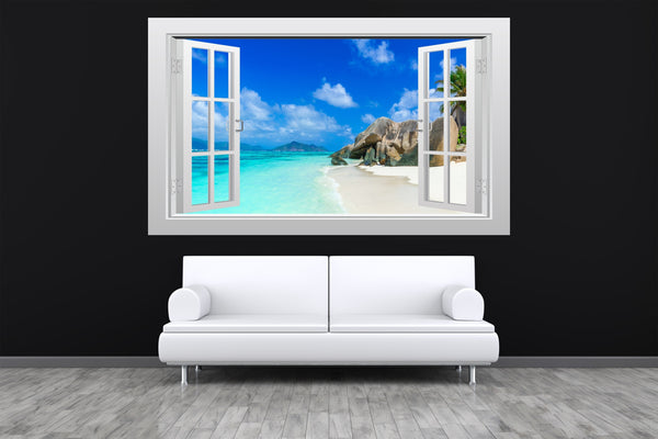 Tropical beach and sea #1 3D Window Scape Wall Van Art Sticker Poster