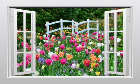 Tulip field and foot bridge 3D Window Scape Wall Art Sticker Poster - Enhance With Vinyl