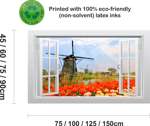 Tulip field and windmill 3D Window Scape Graphic Art Mural Wall Sticker - Enhance With Vinyl