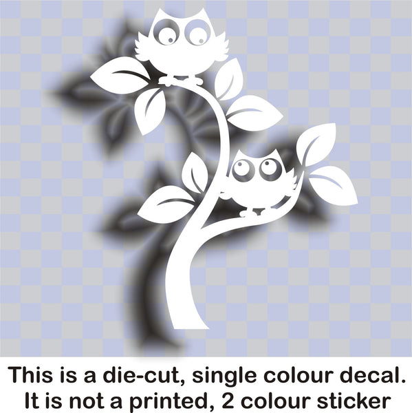 2 Owls in a tree  - vinyl wall art sticker bedroom, boy, girl, children - WS1038 - Enhance With Vinyl