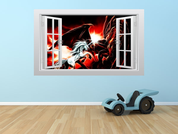 Unicorn battling a dragon 3D Window Scape Graphic Art Mural Wall Sticker - Enhance With Vinyl