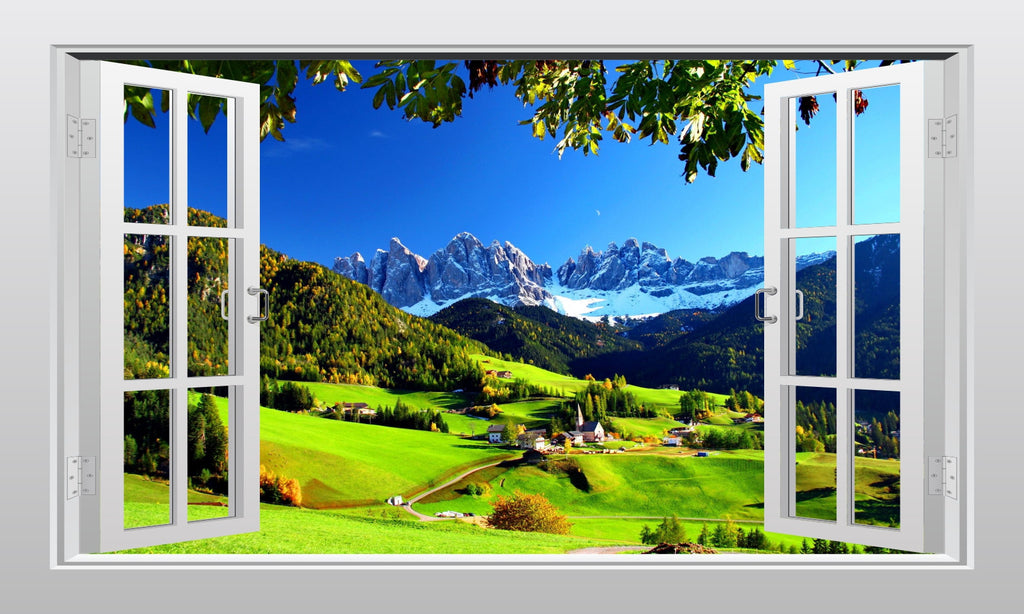 Val di Funes in Italy 3D Window Scape Graphic Art Mural Wall Sticker - Enhance With Vinyl