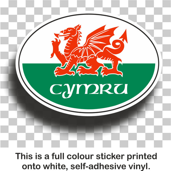 Welsh oval flag - full colour printed self-adhesive vinyl sticker