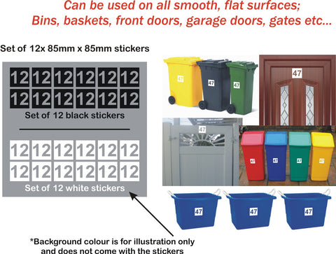 12x Wheelie Bin Stickers House Garage Gate Numbers Self-adhesive - Enhance With Vinyl