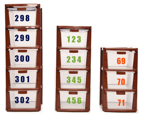 "3x Self Adhesive Weatherproof Vinyl Wheelie Bin Numbers Stickers 4"" (100mm) - Enhance With Vinyl"