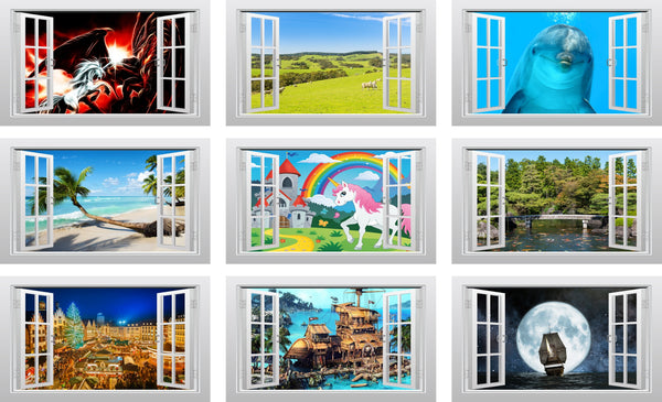 Aurora Borealis - Northern Lights 3D Window Scape Graphic Art Mural Wall Sticker - Enhance With Vinyl