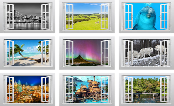English countryside (Alnwick, Northumberland) 3D Window Scape Graphic Art Mural Wall Sticker - Enhance With Vinyl