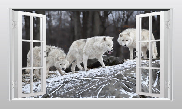 White Wolf Pack 3D Window Scape Graphic Art Mural Wall Sticker - Enhance With Vinyl