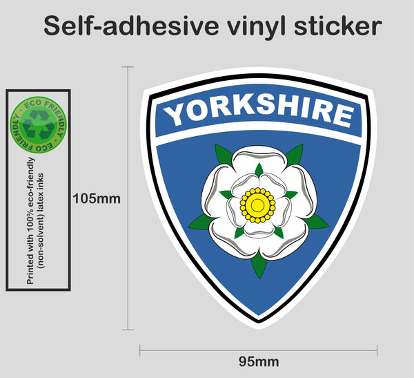 Yorkshire county rose shield sticker - Printed colour vinyl graphic