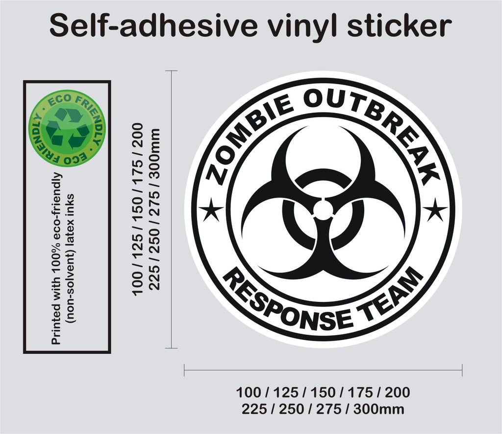 Zombie response team biohazard 1 printed self adhesive sticker enhance with vinyl