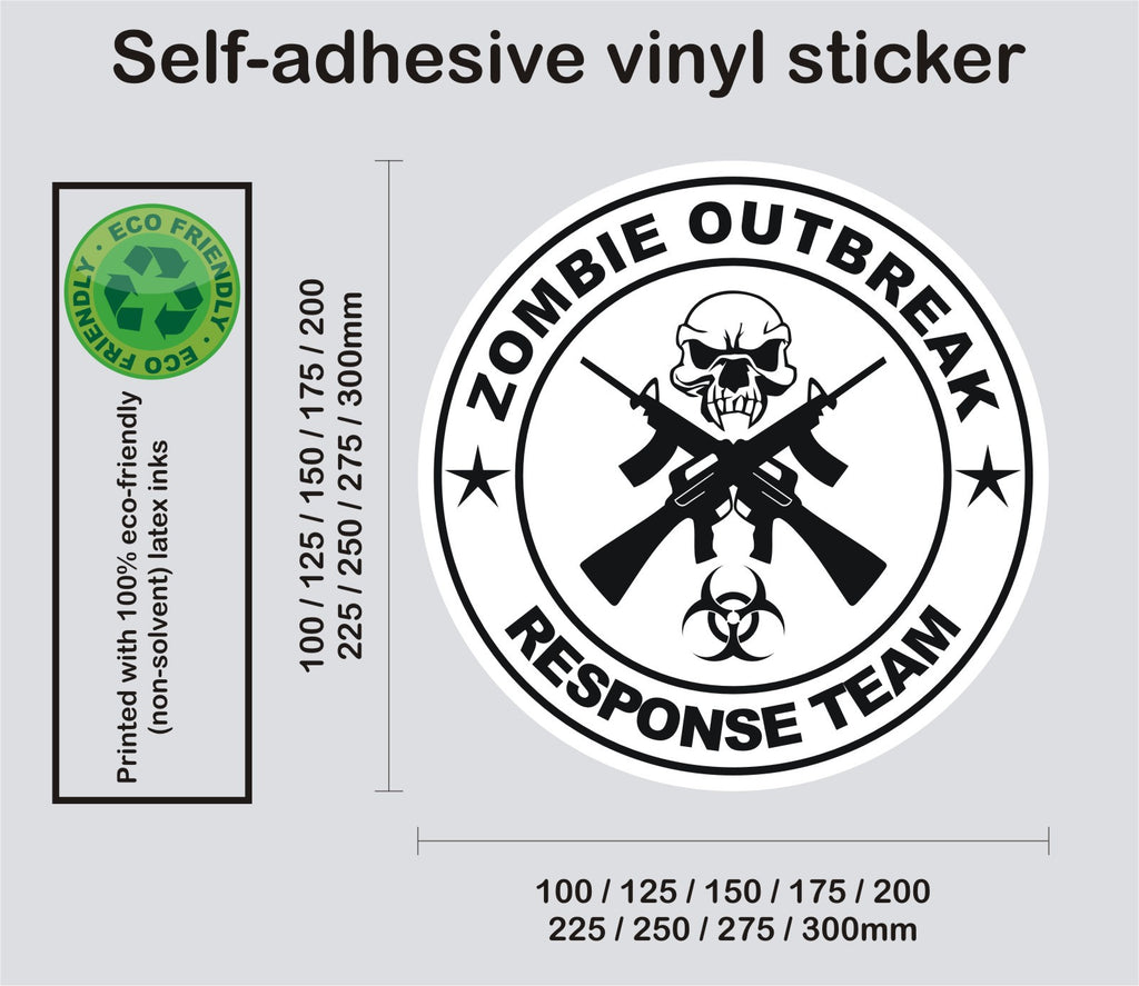 Zombie Response Team - Crossed rifles and skull #2 - printed self-adhesive sticker