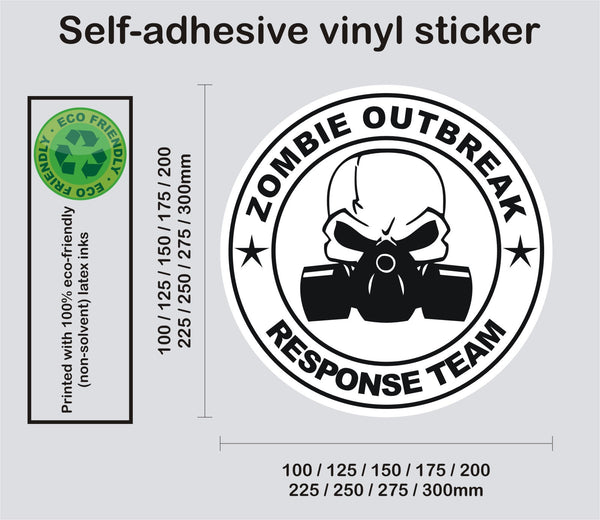 Zombie Response Team - Skull and gas mask #4 - printed self-adhesive sticker