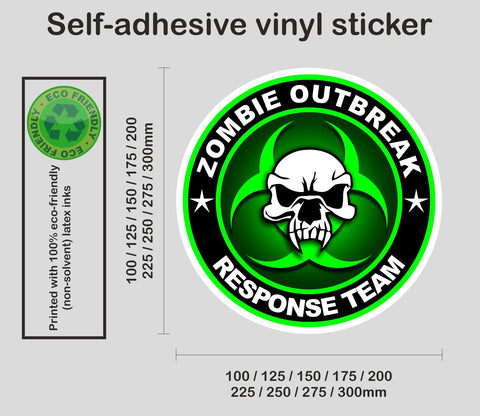 Zombie Response Team - Biohazard #8 - printed self-adhesive sticker