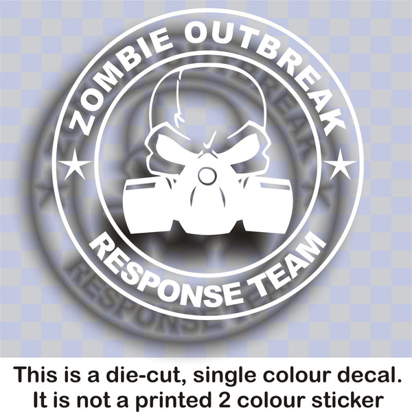Zombie Outbreak Response Team #4 - Skull & gas mask - Large vinyl decal sticker - Enhance With Vinyl