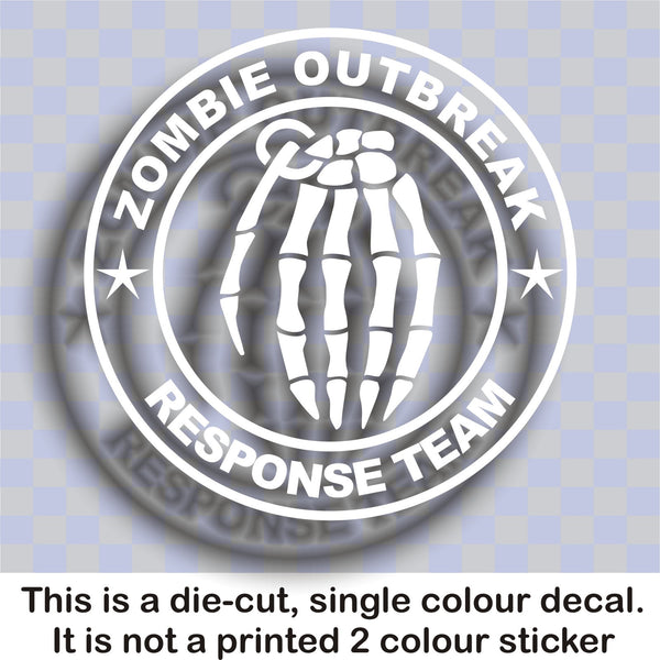 Zombie Outbreak Response Team #5 - Skeleton hand grenade - Large vinyl decal sticker - Enhance With Vinyl