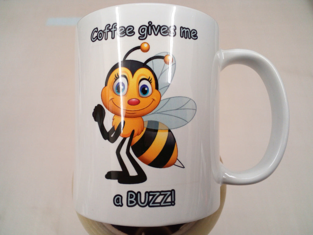 Cute bee - 'Coffee gives me a BUZZ!' coffee mug