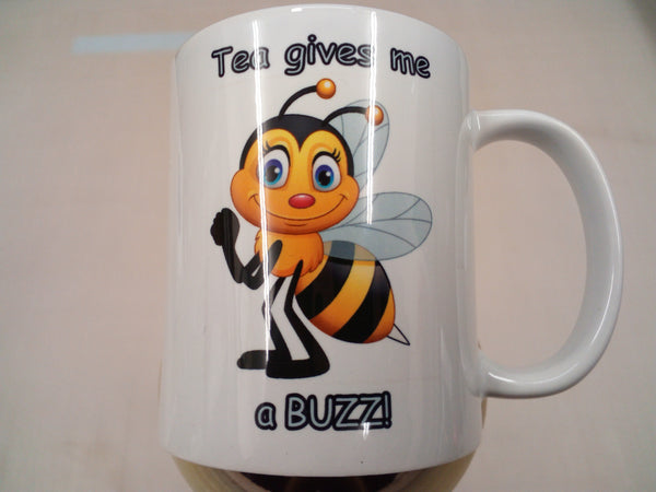Cute bee 'Tea gives me a BUZZ!' - 11oz mug birthday Christmas xmas gift present