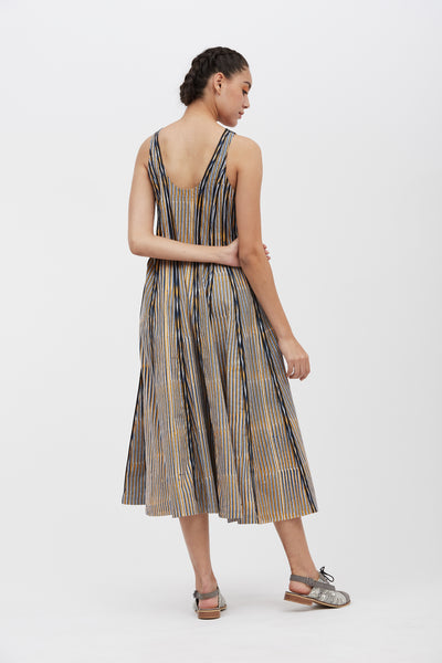 Striped Panelled Circular Dress