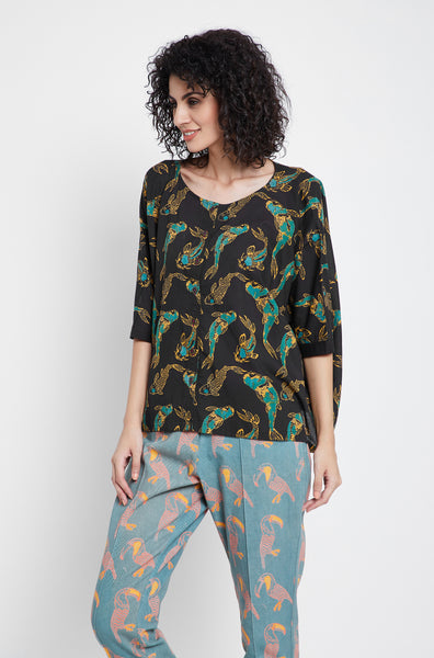 Midnight Koi Anti-Fit Top